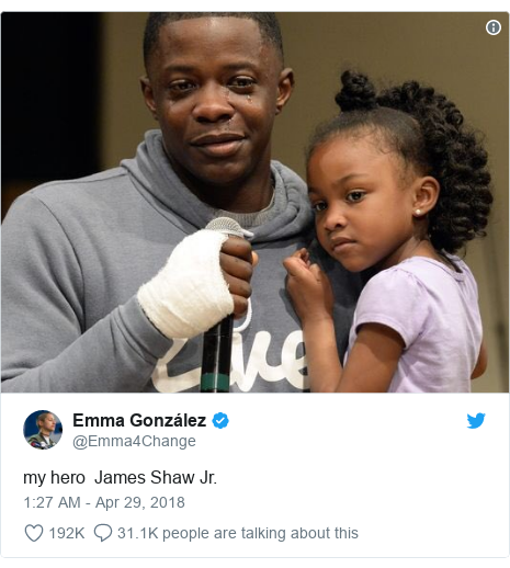 Twitter post by @Emma4Change: my hero  James Shaw Jr.