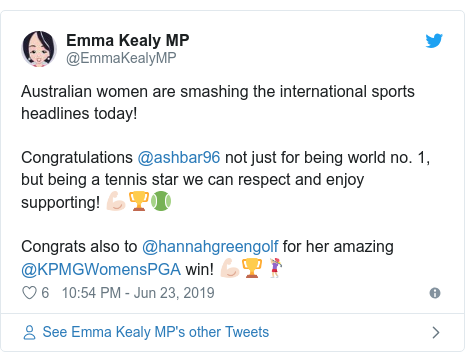 Twitter post by @EmmaKealyMP: Australian women are smashing the international sports headlines today!Congratulations @ashbar96 not just for being world no. 1, but being a tennis star we can respect and enjoy supporting! 💪🏻🏆🎾Congrats also to @hannahgreengolf for her amazing @KPMGWomensPGA win! 💪🏻🏆🏌🏼‍♀️