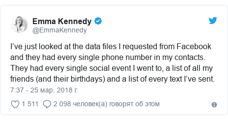 Twitter пост, автор: @EmmaKennedy: I've just looked at the data files I requested from Facebook and they had every single phone number in my contacts. They had every single social event I went to, a list of all my friends (and their birthdays) and a list of every text I've sent.