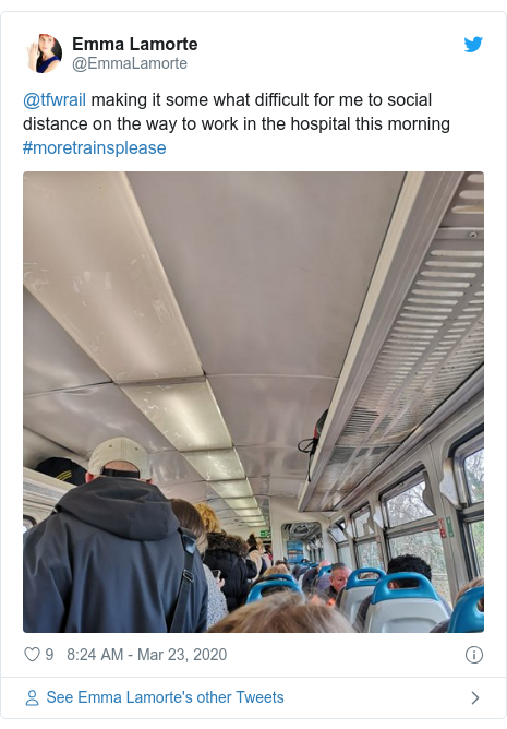 Twitter post by @EmmaLamorte: @tfwrail making it some what difficult for me to social distance on the way to work in the hospital this morning #moretrainsplease