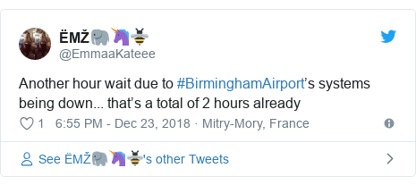 Twitter post by @EmmaaKateee: Another hour wait due to #BirminghamAirport's systems being down... that's a total of 2 hours already