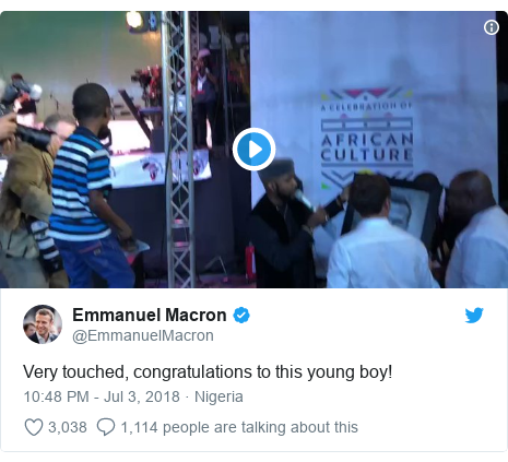 Twitter post by @EmmanuelMacron: Very touched, congratulations to this young boy!