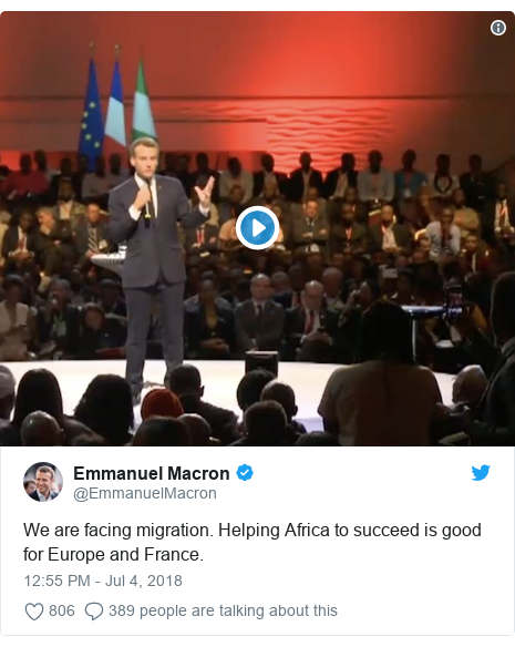 Twitter post by @EmmanuelMacron: We are facing migration. Helping Africa to succeed is good for Europe and France.