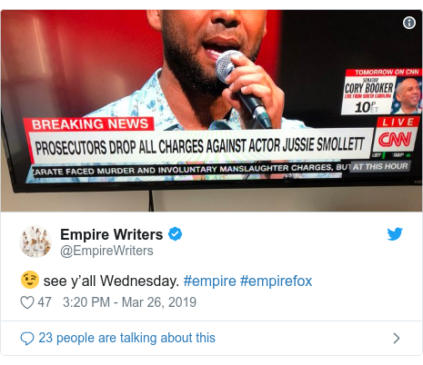 Twitter post by @EmpireWriters: 😉 see y'all Wednesday. #empire #empirefox