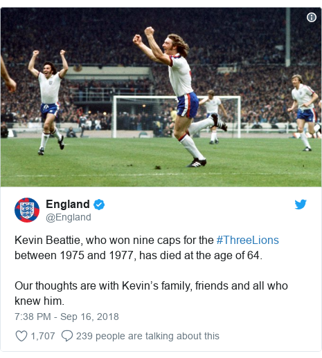 Twitter post by @England: Kevin Beattie, who won nine caps for the #ThreeLions between 1975 and 1977, has died at the age of 64. Our thoughts are with Kevin's family, friends and all who knew him.