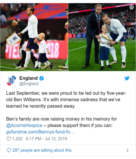 Twitter post by @England: Last September, we were proud to be led out by five-year-old Ben Williams. It's with immense sadness that we've learned he recently passed away. Ben's family are now raising money in his memory for @AcornsHospice – please support them if you can