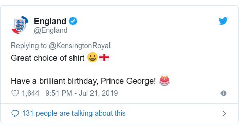 Twitter post by @England: Great choice of shirt 😀🏴Have a brilliant birthday, Prince George! 🎂