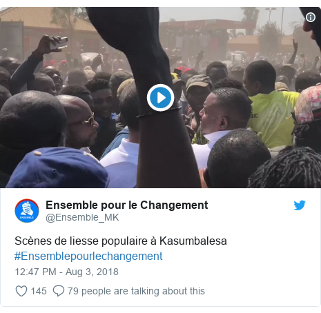 Ujumbe wa Twitter wa @Ensemble_MK: Scènes de liesse populaire à Kasumbalesa  #Ensemblepourlechangement