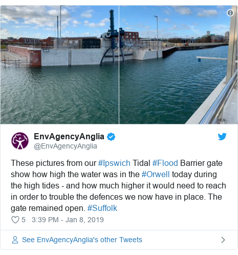 Twitter post by @EnvAgencyAnglia: These pictures from our #Ipswich Tidal #Flood Barrier gate show how high the water was in the #Orwell today during the high tides - and how much higher it would need to reach in order to trouble the defences we now have in place. The gate remained open. #Suffolk