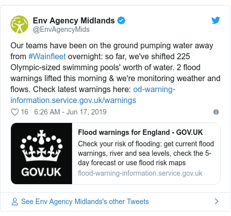 Twitter post by @EnvAgencyMids: Our teams have been on the ground pumping water away from #Wainfleet overnight  so far, we've shifted 225 Olympic-sized swimming pools' worth of water. 2 flood warnings lifted this morning & we're monitoring weather and flows. Check latest warnings here