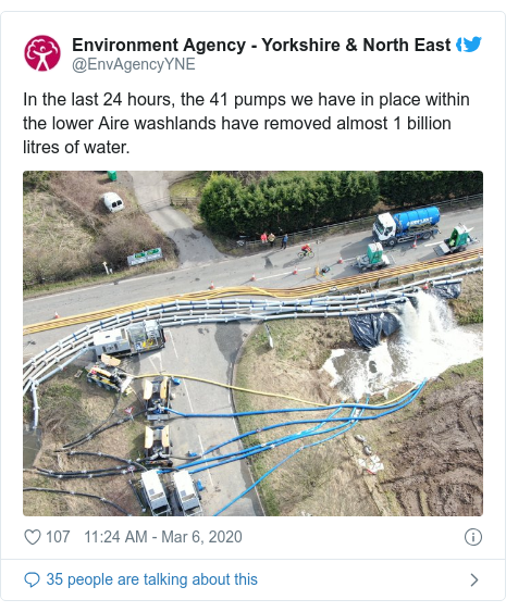 Twitter post by @EnvAgencyYNE: In the last 24 hours, the 41 pumps we have in place within the lower Aire washlands have removed almost 1 billion litres of water.