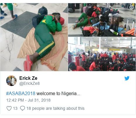 Twitter post by @ErickZe8: #ASABA2018 welcome to Nigeria...