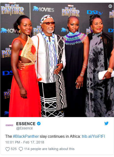 Twitter post by @Essence: The #BlackPanther slay continues in Africa