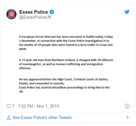 Twitter post by @EssexPoliceUK: