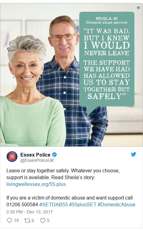 Twitter post by @EssexPoliceUK: Leave or stay together safely. Whatever you choose, support is available. Read Sheila's story  If you are a victim of domestic abuse and want support call 01206 500584 #SETDAB55 #55plusSET #DomesticAbuse