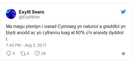 Neges Twitter gan @EsylltMair: Ma magu plentyn i siarad Cymraeg yn naturiol a greddfol yn blydi anodd ac yn cyfrannu tuag at 80% o'n anxiety dyddiol i.