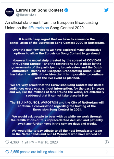 Twitter post by @Eurovision: An official statement from the European Broadcasting Union on the #Eurovision Song Contest 2020.