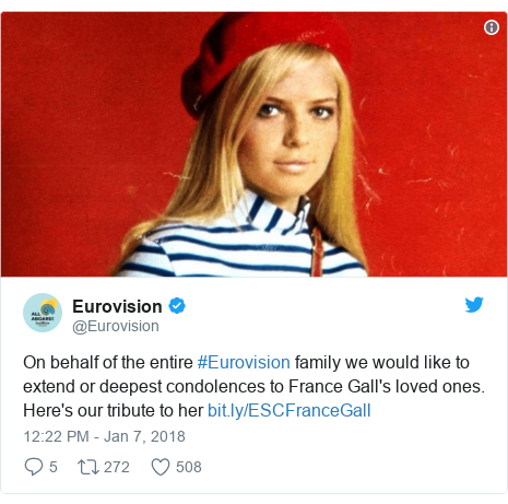 Twitter post by @Eurovision: On behalf of the entire #Eurovision family we would like to extend or deepest condolences to France Gall's loved ones. Here's our tribute to her