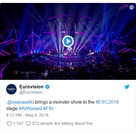Twitter post by @Eurovision: .@saaraaalto brings a monster show to the #ESC2018 stage #AllAboard #FIN