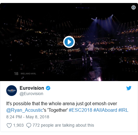 Twitter post by @Eurovision: It's possible that the whole arena just got emosh over @Ryan_Acoustic's 'Together' #ESC2018 #AllAboard #IRL