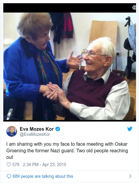 Twitter post by @EvaMozesKor: I am sharing with you my face to face meeting with Oskar Groening the former Nazi guard. Two old people reaching out