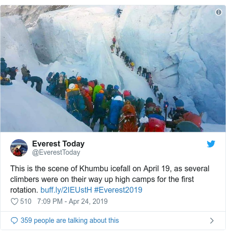 Twitter post by @EverestToday: This is the scene of Khumbu icefall on April 19, as several climbers were on their way up high camps for the first rotation.  #Everest2019