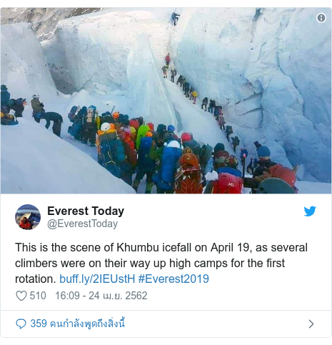 Twitter โพสต์โดย @EverestToday: This is the scene of Khumbu icefall on April 19, as several climbers were on their way up high camps for the first rotation.  #Everest2019