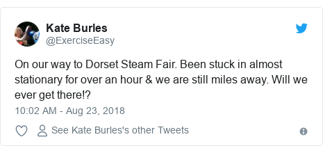 Twitter post by @ExerciseEasy: On our way to Dorset Steam Fair. Been stuck in almost stationary for over an hour & we are still miles away. Will we ever get there!?