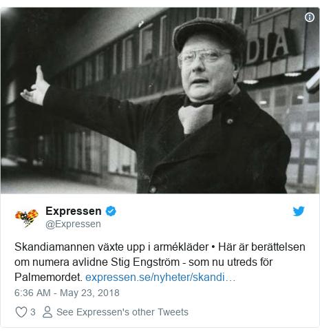 Twitter post by @Expressen: Skandiamannen växte upp i armékläder • Här är berättelsen om numera avlidne Stig Engström - som nu utreds för Palmemordet.