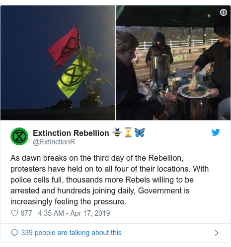 Twitter post by @ExtinctionR: As dawn breaks on the third day of the Rebellion, protesters have held on to all four of their locations. With police cells full, thousands more Rebels willing to be arrested and hundreds joining daily, Government is increasingly feeling the pressure.