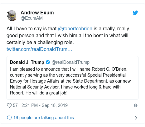 Twitter post by @ExumAM: All I have to say is that @robertcobrien is a really, really good person and that I wish him all the best in what will certainly be a challenging role.