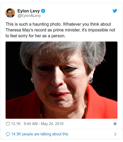 Twitter post by @EylonALevy: This is such a haunting photo. Whatever you think about Theresa May's record as prime minister, it's impossible not to feel sorry for her as a person.