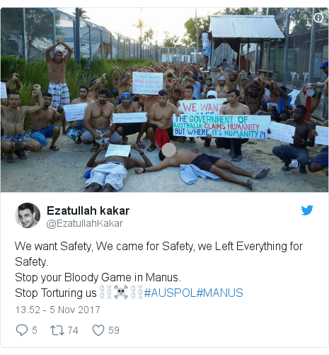 Twitter pesan oleh @EzatullahKakar: We want Safety, We came for Safety, we Left Everything for Safety.Stop your Bloody Game in Manus.Stop Torturing us⛓️☠️⛓️#AUSPOL#MANUS
