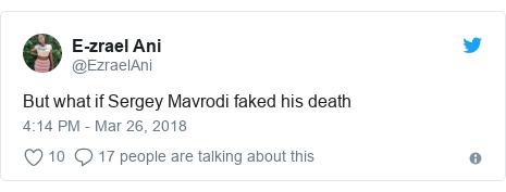 Twitter post by @EzraelAni: But what if Sergey Mavrodi faked his death