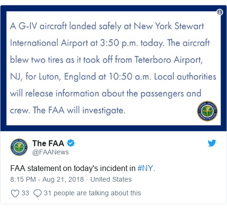 Twitter post by @FAANews: FAA statement on today's incident in #NY.