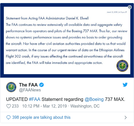 Twitter post by @FAANews: UPDATED #FAA Statement regarding @Boeing 737 MAX.