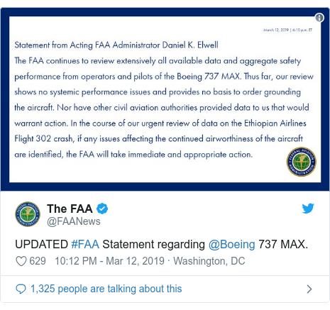 Ujumbe wa Twitter wa @FAANews: UPDATED #FAA Statement regarding @Boeing 737 MAX.