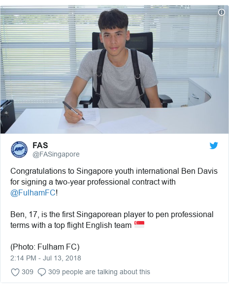 Twitter post by @FASingapore: Congratulations to Singapore youth international Ben Davis for signing a two-year professional contract with @FulhamFC!Ben, 17, is the first Singaporean player to pen professional terms with a top flight English team 🇸🇬️(Photo  Fulham FC)