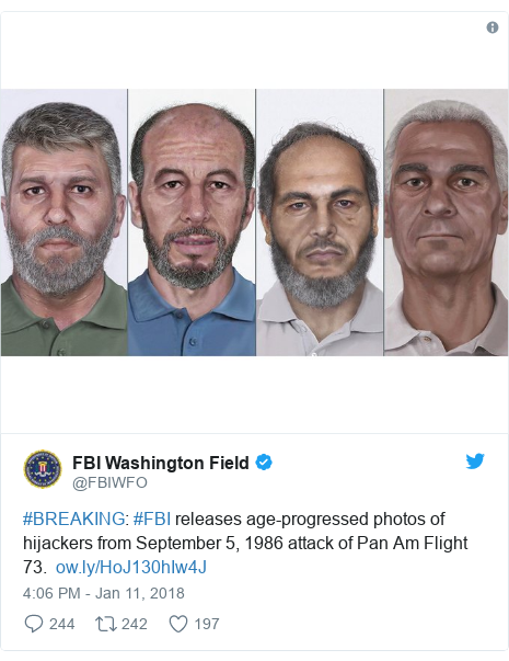 Twitter post by @FBIWFO: #BREAKING  #FBI releases age-progressed photos of hijackers from September 5, 1986 attack of Pan Am Flight 73.