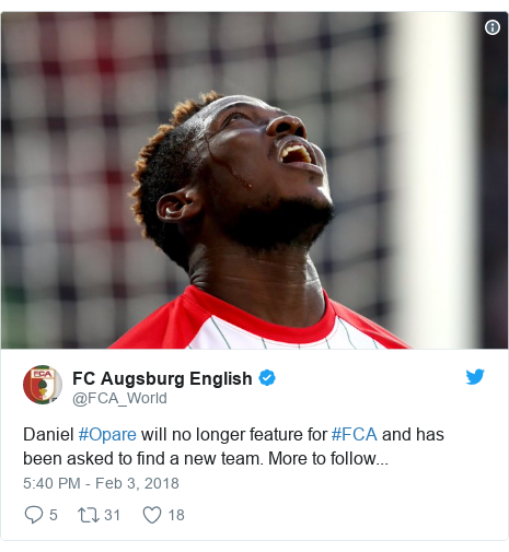 Twitter post by @FCA_World: Daniel #Opare will no longer feature for #FCA and has been asked to find a new team. More to follow...