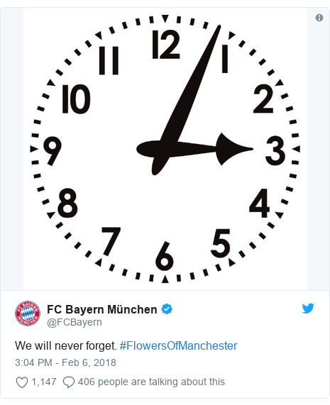 Twitter post by @FCBayern: We will never forget. #FlowersOfManchester
