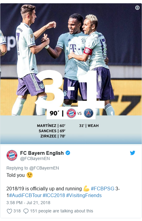 Twitter post by @FCBayernEN: Told you 😉2018/19 is officially up and running 💪 #FCBPSG 3-1#AudiFCBTour #ICC2018 #VisitingFriends