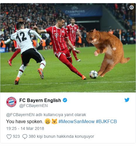@FCBayernEN tarafından yapılan Twitter paylaşımı: You have spoken. 😁🐱 #MeowSanMeow #BJKFCB