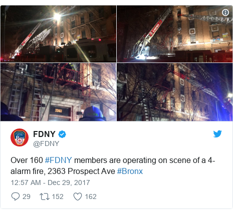 Twitter post by @FDNY: Over 160 #FDNY members are operating on scene of a 4-alarm fire, 2363 Prospect Ave #Bronx