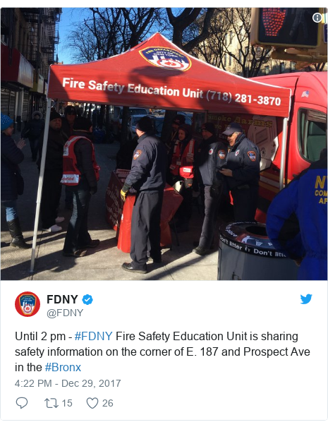 Twitter post by @FDNY: Until 2 pm - #FDNY Fire Safety Education Unit is sharing safety information on the corner of E. 187 and Prospect Ave in the #Bronx