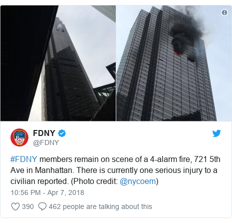 Twitter post by @FDNY: #FDNY members remain on scene of a 4-alarm fire, 721 5th Ave in Manhattan. There is currently one serious injury to a civilian reported. (Photo credit  @nycoem)