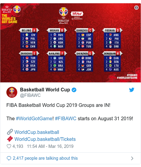 Twitter post by @FIBAWC: FIBA Basketball World Cup 2019 Groups are IN!The #WorldGotGame! #FIBAWC starts on August 31 2019!🔗 🎟