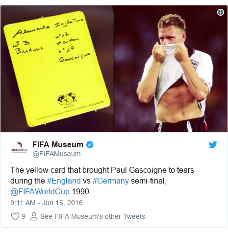 Twitter post by @FIFAMuseum: The yellow card that brought Paul Gascoigne to tears during the #England vs #Germany semi-final, @FIFAWorldCup 1990