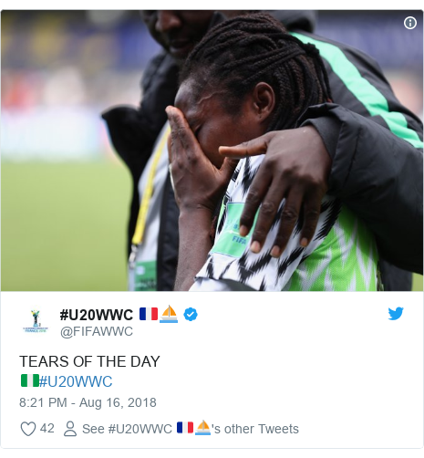 Twitter post by @FIFAWWC: TEARS OF THE DAY🇳🇬#U20WWC