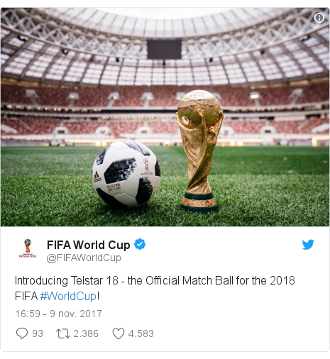 Publicación de Twitter por @FIFAWorldCup: Introducing Telstar 18 - the Official Match Ball for the 2018 FIFA #WorldCup!